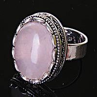 """Кольцо  Розовый кварц оправа  """"зубчик"""" """"М"""" овальный  камень 2,1*1,6 см без р-р"""