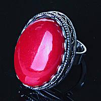 """Кольцо Коралл оправа  """"зубчик"""" """"Б"""" овальный  камень 2,8*2,1 см без р-р"""