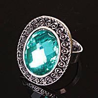 Кольцо без р-р  S-узор кристалл зеленый