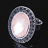 Кольцо без р-р  S-узор кристалл розовый