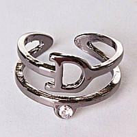 Кольцо без р-р  хомут Dior темное сильвер