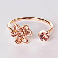 Кольцо без р-р  хомут цветок страза голд янтарная