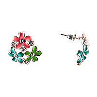 Серьги-пуссеты из трех цветков красного, голубого и зеленого\эмаль\стразик\ металл под серебро\ 25mm
