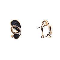 Серьги Крылья бабочки, черная эмаль и стразы, итальянская застежка (металл под серебро)2,5см