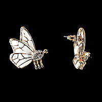 Серьги-пусеты Бабочки, белая эмаль и стразы (металл под золото) 2см