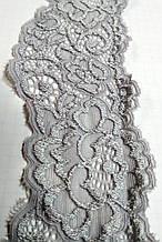 Мереживо стрейч сіре сталеве шовкове 5 см з переходом кольору шовк , сток Англія