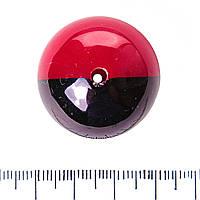 [30мм] Фурнитура для бижутерии бусина двухцветная большая, сквозное отверстие, красный и черный