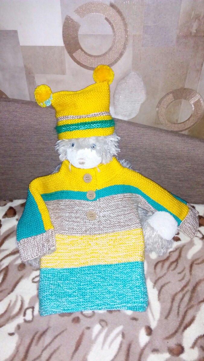 Детский вязаный свитер и шапочка, ручная работа (образец)