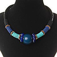 Ожерелье черного цвета плетенка, бусины и ткань - синий, бирюзовый, черный, золотой цвета