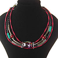 [2,5 / 3,5 мм] Ожерелье африканский мотив, цвета: бирюзовый, красный, черный,  4 ряда, металлические бусины, вставки плетенки и тканевые узоры,