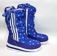 Женские зимние дутики синие с полосками  №23