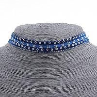 Чокер на шею из синей тесьмы с пайетками,32см