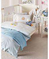 Комплект постельного белья для новорожденных с вышевкой Karaca Home Duck голубой