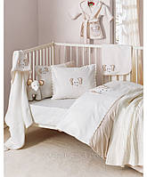 Комплект постельного белья для новорожденных с вышевкой Karaca Home Elephant кремовый
