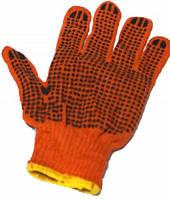 Перчатки ХБ рабочие оранжевая с точкой12 пар