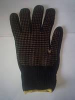 Перчатки ХБ рабочие черные с точкой12 пар