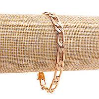 Браслет Xuping плетение Мадлена,замок карабин,цвет золото