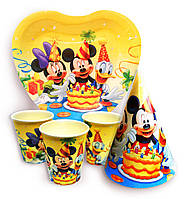 """Набор для детского дня рождения """"Микки и его друзья"""". Тарелки, стаканчики и колпачки по 10шт."""