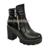 Женские ботинки кожаные на меху, декорированы молнией, невысокий каблук., фото 1