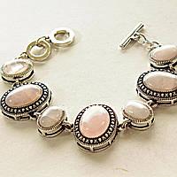"""Браслет Розовый кварц  оправа  """"точка крестик"""" овальный  камень больше меньше 26*21 17*13мм 7 шт  см L-18-21см"""