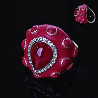 Перстень пышный красный эмаль
