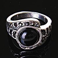[17,18,19] Кольцо Агат завиток  черная страза