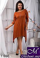 Свободное женское платье цвета кирпич (48, 50, 52, 54) арт. 11696