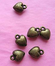 Подвеска металлическая, сердце, 8 мм