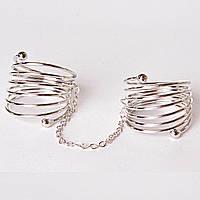 [15,16,17,18,19] Кольцо на два пальчика спираль сильвер 16