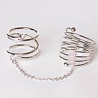 [15,16,17,18,19] Кольцо на два пальчика спираль страза сильвер 15