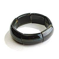 Браслет на резинке Соколиный (Ястребиный) Глаз прямоугольные камни