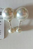 Срібні сережки пуссети з перлами, фото 1