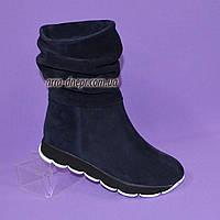 Женские замшевые зимние ботинки свободного одевания., фото 1