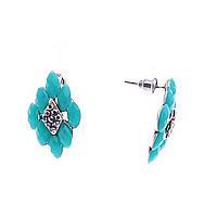 Серьги -пусеты ромбовидные с голубыми овальными вставками и декором из страз, 25*15мм