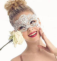 Маска карнавальная ажурная белая