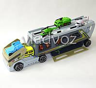Машинка трейлер автовоз грузовик большой набор с машинками, вертолетами и животными
