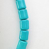 Бусы голубая Бирюза бусины бочонок 10*8мм, длина 48см