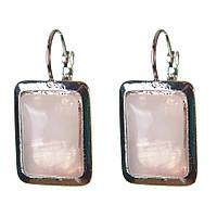 Серьги Розовый кварц гладкая оправа  прямоугольный  камень 2,3*1,8см L-3,5