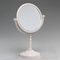 Красивое косметическое настольное зеркало 29 см (круглое), цвет бежевый