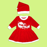 Новогодний комплект Помощница Санты, платье Снегурочки + шапочка