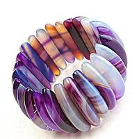 Браслет на резинке фиолетовый Агат широкий