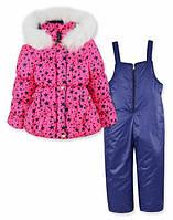 Детский зимний комбинезон на девочку розовый, р.98,104