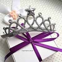 """Повязка-корона для девочки """"Silver"""" на голову."""