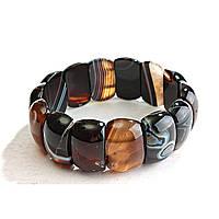[10 см] Браслет на резинке коричневый (дымчатый) Агат овальные камни
