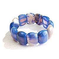 Браслет на резинке голубой Агат овальные камни
