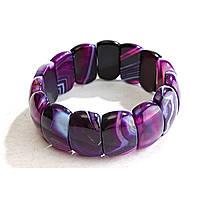 [10 см] Браслет на резинке фиолетовый Агат овальные камни