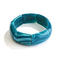 [10 см] Браслет на резинке голубой Агат прямоугольные камни