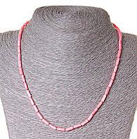 Бусы из натуральных камней коралл розовый, бусины  трубочки 3,5х9