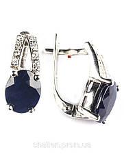 Сережки срібні з сапфіром Е-204-сф