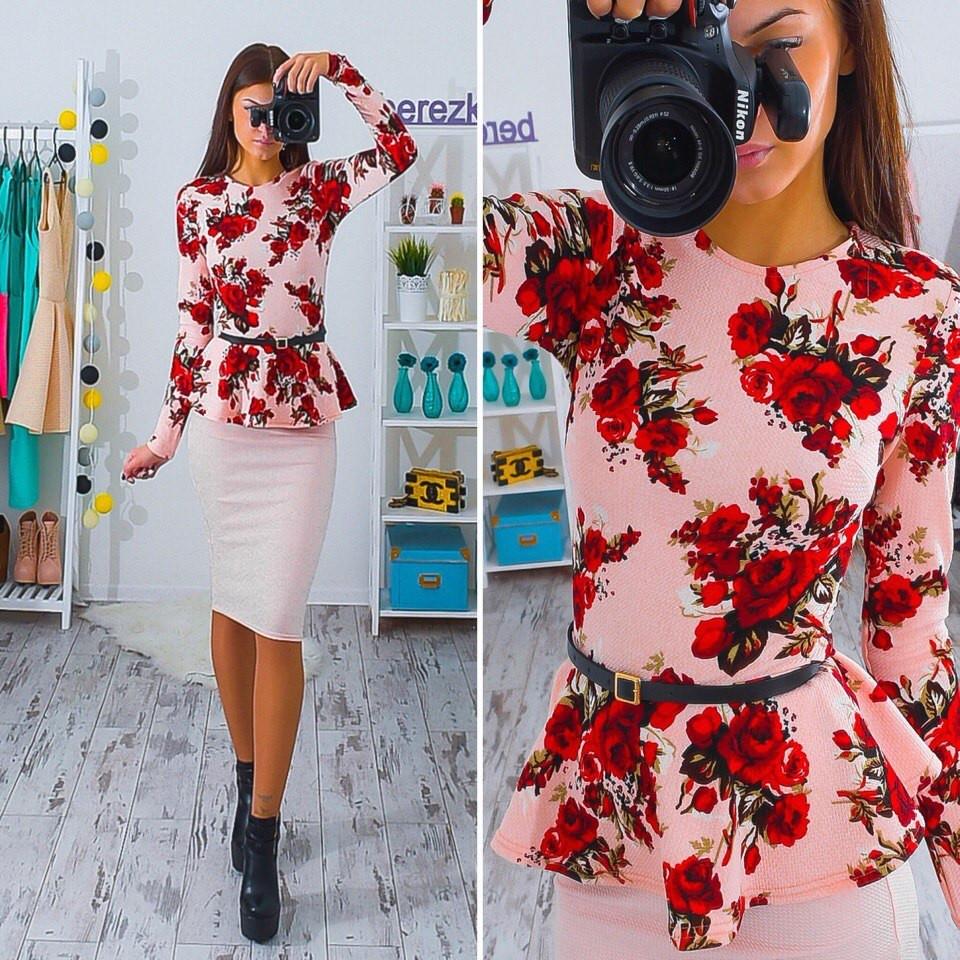 782f40db3f5 Костюм блузка с баской и поясом в цветочный принт и юбка миди трикотаж  Kb154 - Shoppingood